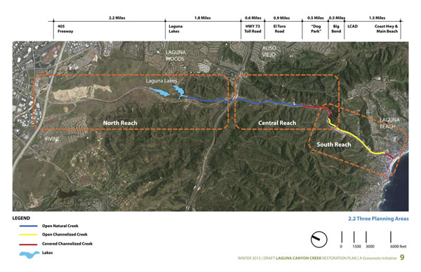 "The Laguna Canyon Creek Restoration Plan has recommendations for three ""reaches"" along the creek. In this graphic, the creek is shown in blue where it is open and natural, yellow where it is channelized and open, and red where it is channelized and covered."