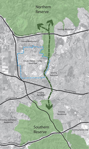 This concept map shows the intended path of the Coast to Cleveland Wildlife Corridor between the Greenbelt and northern wildlands including the Cleveland National Forest.