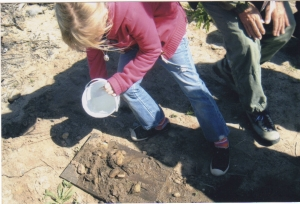 An El Morro Elementary student learns about erosion at Crystal Cove State Park.